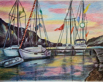 Boats in Colorful Sunset, Sail boat Colored Pencil Painting, Wall Art by Artist, Wall Hanging
