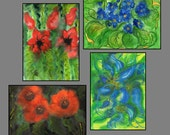 Custom order - Set of Four Art Prints of Original Watercolor Painting. Frowers