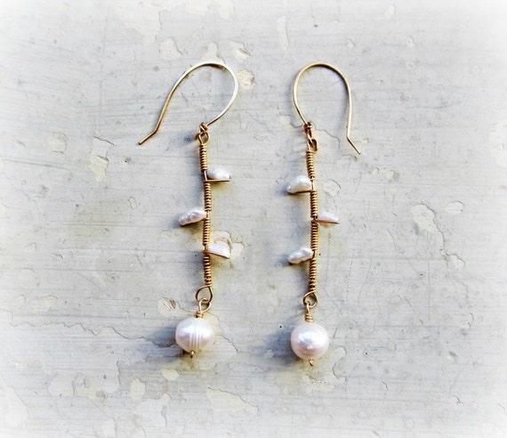 Branch Earrings, Wire Wrapped Gold Filled Earrings, White Pearl Earrings, Freshwater Pearls, Twig Earrings, Bridal Jewelry, Natural Pearls