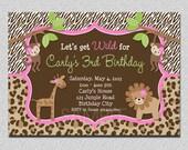 Jungle Birthday Invitation Safari Jungle Birthday Party Invitation