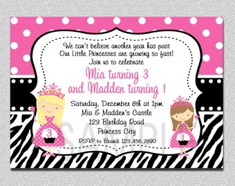 Twins Princess Birthday Invitation Pink and Black Twins Siblings Birthday Invitation