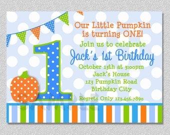 Pumpkin Birthday Invitation Fall 1st Birthday Party Invites Boys or Girls