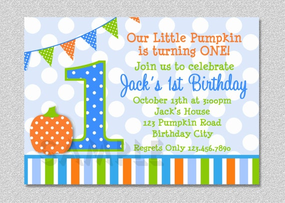 Pumpkin Birthday Invitation Fall 1st Birthday Party Invites Boys or Girls