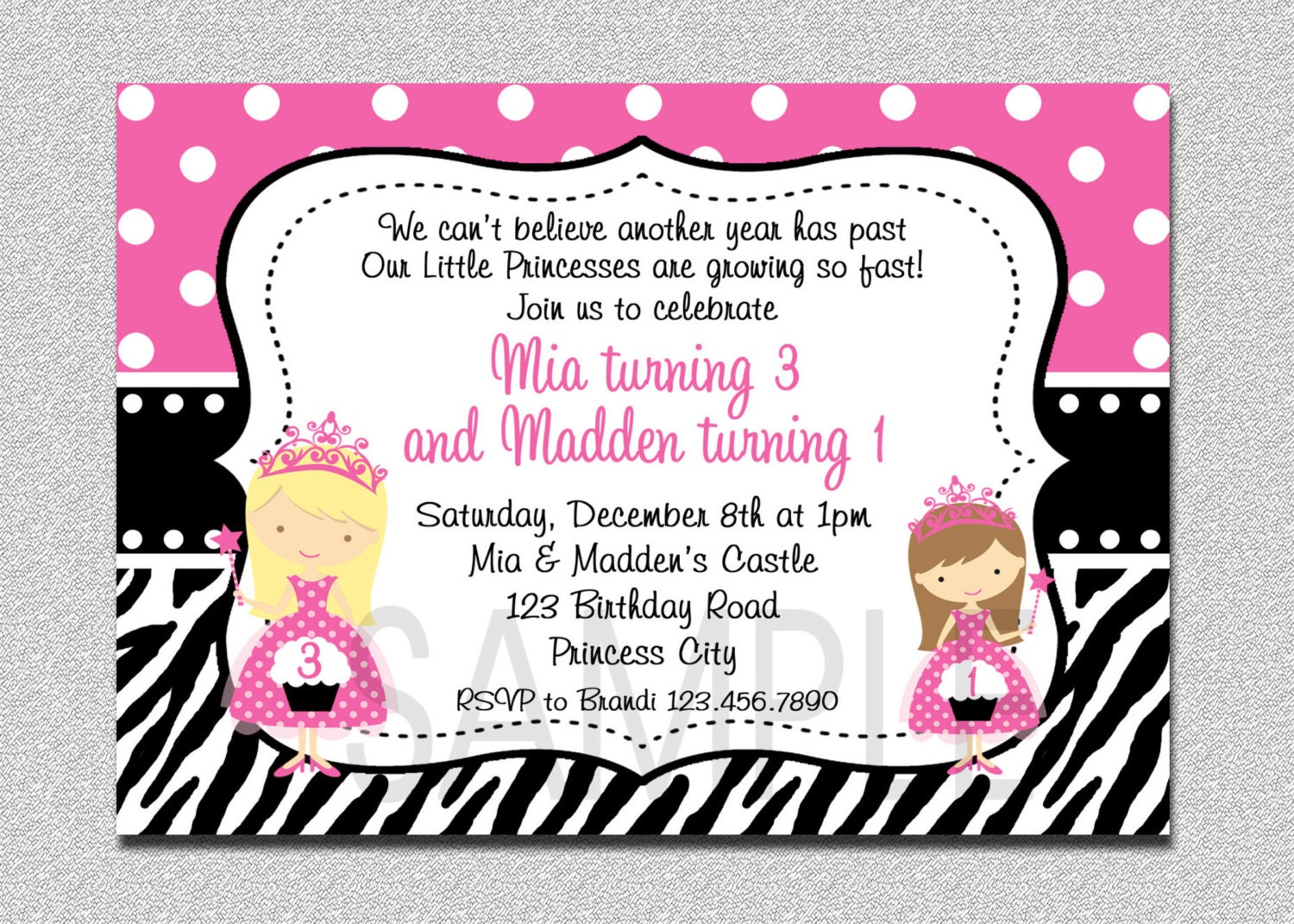 Twins Princess Birthday Invitation Twins Princess Pink and