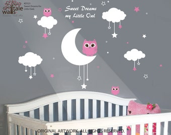 Nursery Wall Decals Baby Owls for Sweet Dreams with clouds and stars vinyl wall decals for girls and boys