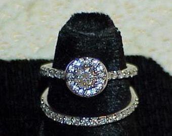 14kt 1.00Ct Diamond 2 Ring Wedding Set  Love Inside ring with Diamond  VS J Lovely Set White Gold