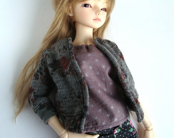 Cardigan (short) - Grey with Flowers - Unoa / Minifee