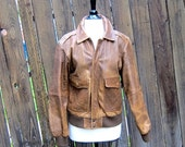 Vintage Worn In Rugged Leather Small Bomber Aviator Jacket Size 38 (mens s/m, ladies m/l)