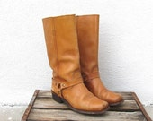 RESERVED Vintage Worn In Tan Leather Motorcycle Harnass Boots Ladies Size 8-8.5