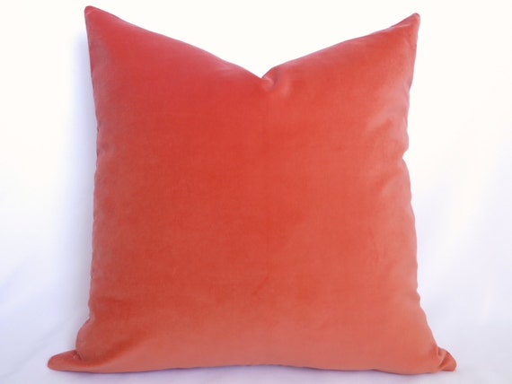 Cotton Velvet Pillow Cover Coral Orange 20 by WillaSkyeHome