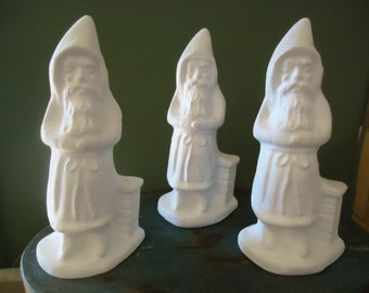 3 Unfinished Chalkware Santas from Chocolate Mold For U to Paint