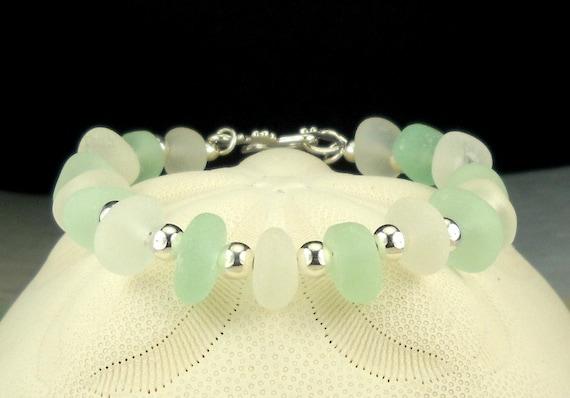 GENUINE Sea Glass Bracelet Sterling Silver Aqua And White