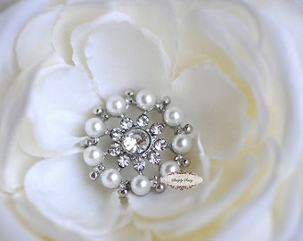 10 Pearl Rhinestone Button Flatback Embellishment Brooch Bouquet Supply Wedding Hairbow Jewelry Invitations Favors