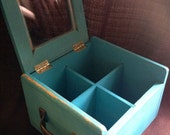Distressed Teal Box with Handles