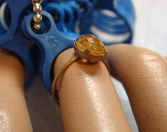 Old Gold tone  Inscribed Ring Hallmark Yellow faceted Setting Child  Maybe Czechoslovakia