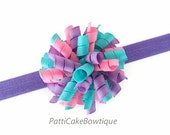 Girls Pink, Purple & Aqua Hair Bow w/ Purple Headband, Baby Bow, Infant Hair Bow, Mini Korker Bow, Curly Bow, Corker Bow, Newborn Hair Bow