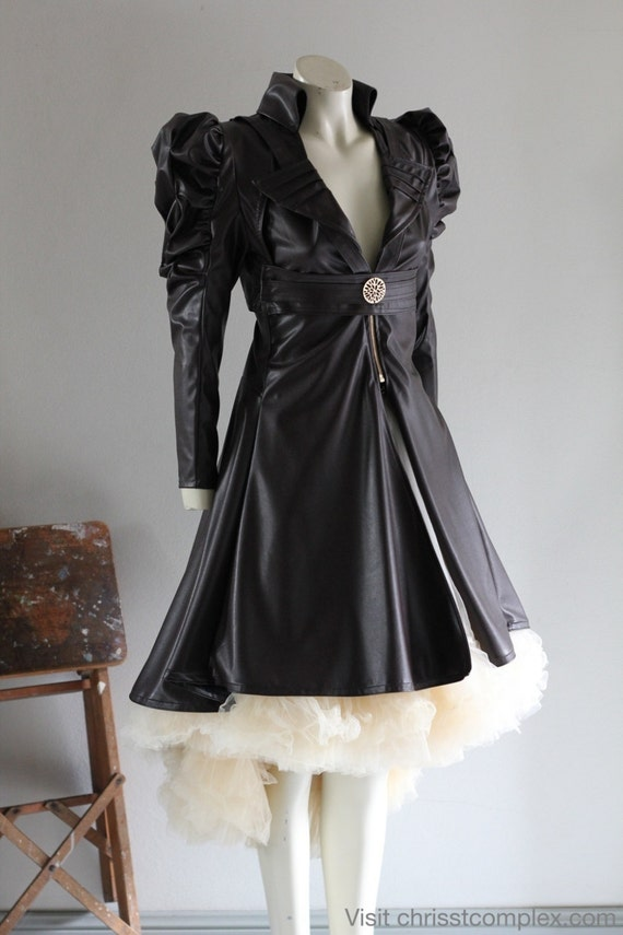 Steampunk Jacket Bolero Leather Gothic Tulle Wedding Bridal Vest Bolero Tulle Skirt CHRISST