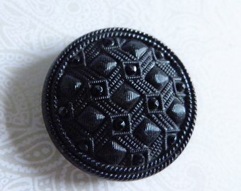 Black Glass Victorian Era Button Fabric Imitation