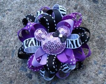 Disney Hair Bow Purple Mickey Mouse Hair Bow Minnie Mouse Hair Bow Loopy Flower Hair Bow