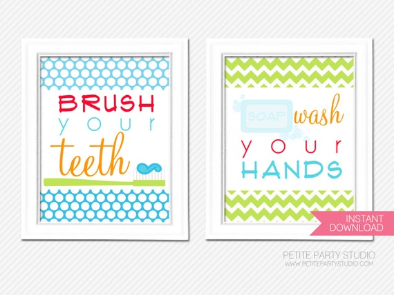 items similar to printable art prints happy hygiene printable bathroom art by petite party studio on etsy - Free Printable Bathroom Art