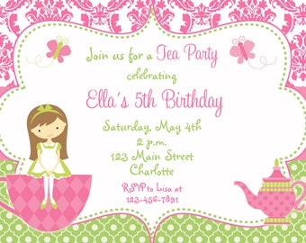 Tea Party Birthday Invitation  --  princess tea - dress up - Tea Party Invitation  You print or I print