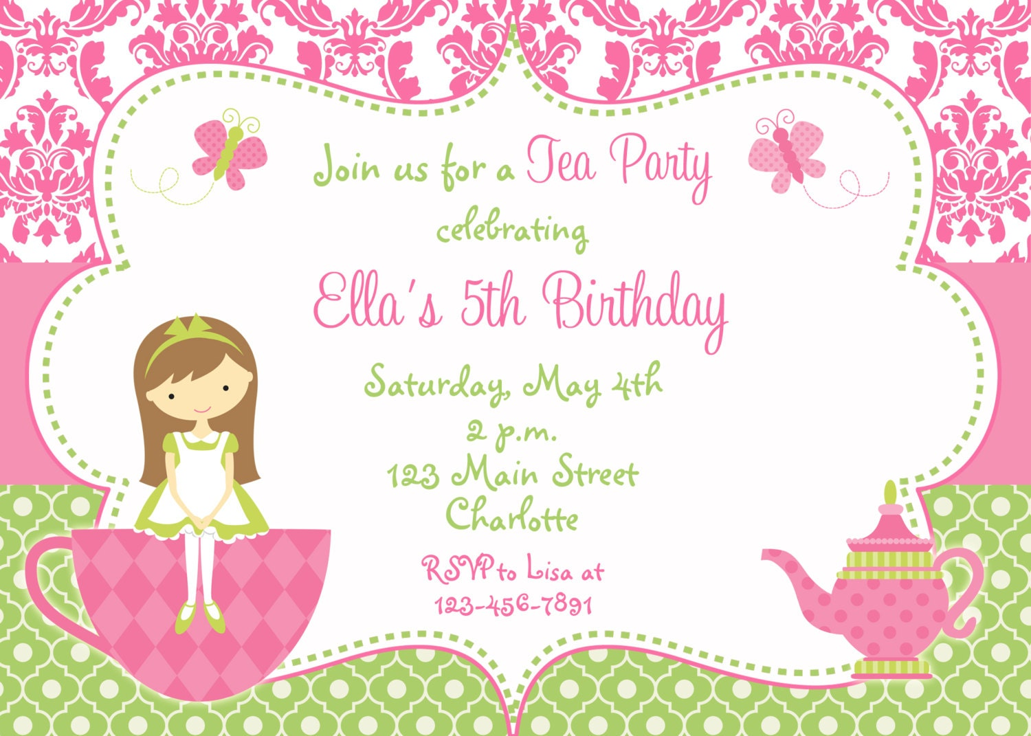 princess tea party | etsy, Party invitations