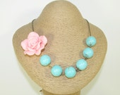 0040 - Pink Rose Chunky Turquoise Blue Beads Flower Necklace, Large, Big, Clay Flower, Statement Necklace, Bridesmaid Necklace