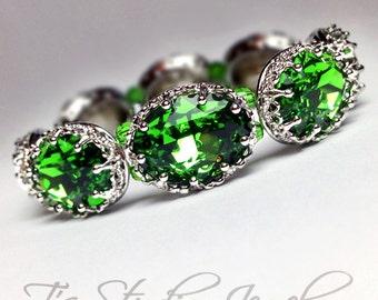 Fern Green Swarovski Crystal Bracelet - Oval Stones