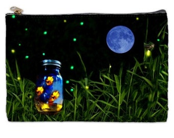 Firefly Cosmetic Bag, Firefly, mason jar, rustic wedding gift, bug jar, cosmetic makeup bag, fireflies, NirvanaRoad, zipperd pouch