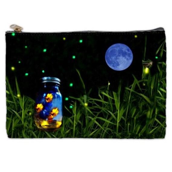Firefly Cosmetic Bag, Firefly, mason jar, rustic wedding gift, bug jar, cosmetic makeup bag, fireflies, NirvanaRoad, zipperd pouch