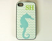 iPhone 4, 4S or 5 Cell Phone Case Seahorse Beach Design Personalized With A Monogram, Seashore Beach Theme  iPhone Case Blue And Green