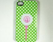 Gof fCell Phone Case iPhone 6 6s 4, 4S or 5 Cell Phone cell phone Case Golf Ball Personalized With A Monogram, Pink And Green