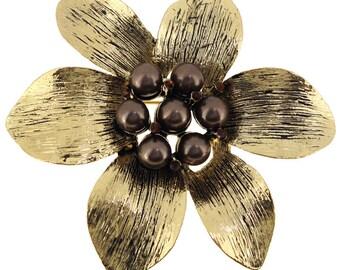 Golden Brown Pearl Flower Pin Brooch 1001452