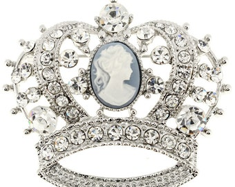 Crystal Cameo Crown Pin Brooch 1002753