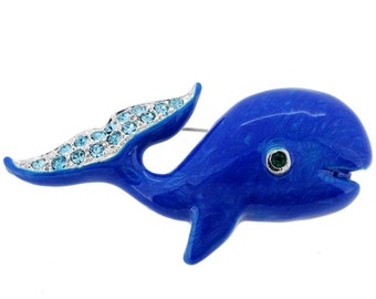 Navy Blue Whale Pin Brooch 1000562