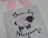 New Baby Baa....by Lamb Nursery Door Hanger-Baby Sleeping with Name or Initials
