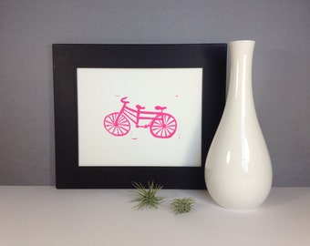 BIKE Art Poster  Pink Tandum Bike linocut 8x10