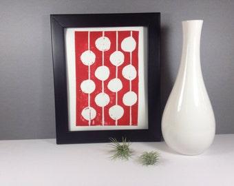 Red and White Polka Dot Art Print linocut 8x10