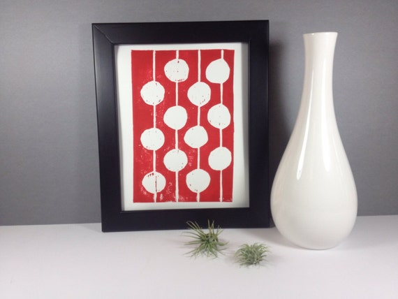 Red and White Polka Dot Art Print linocut 8x10