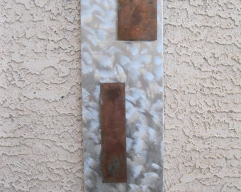 Silver Metal Wall art home decor garden abstract sculpture wall hanging  by Holly Lentz