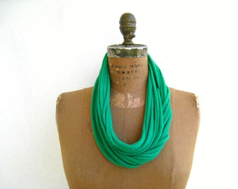 Fabric Necklace Green T-Shirt Necklace Womens Scarf Necklace Recycled Tees Cotton Necklace Fashion Scarf Gift for Her Colorful Necklace