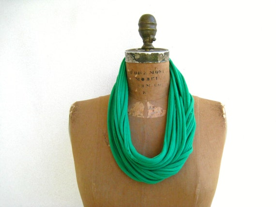 Fabric Necklace Green T-Shirt Necklace Womens Scarf Necklace Recycled Tees Cotton Necklace Fashion Scarf Gift for Her Colorful Necklace Fall