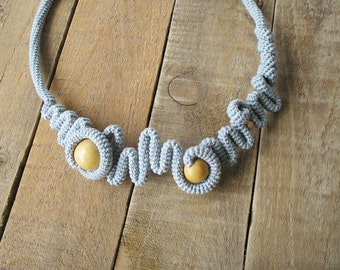 Light Grey Crochet Necklace with wooden beads