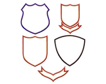 Superhero Badges and Shields Appliques Machine Embroidery Designs Applique Patterns 5 styles in 5 sizes