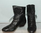 vintage lace up granny boots size 7 black leather nine west