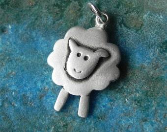 Sheep pendant in sterling silver - Easter gift- gift for girl