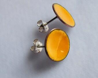 Orange stud earrings Enamel post earrings Minimalist enameled jewelry Small tangerine button earrings