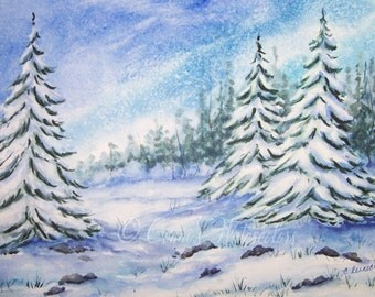 Original Watercolor Painting- Snow Path- Winter Art Christmas Holidays Snowscene Signed with COA 9 x 12 Landscape
