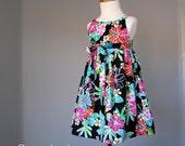 Little Girls Black Hawaiian Dress - Adjustable Wrap Dress - Girls Tropical Sundress - Size 2T, 3T, 4T, 5, 6 or 7