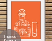 Tequila with shot glass (Top Shelf Alcohol Series) Art Print (Featured in Crimson Orange) Buy 3 Get One Free